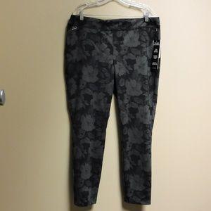 ZAC & RACHEL Gray/Floral Pattern Leggings Sz XL
